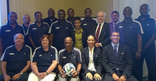BFA president Randy Harris (with ball) and other members of the participants in the FIFA workshop.