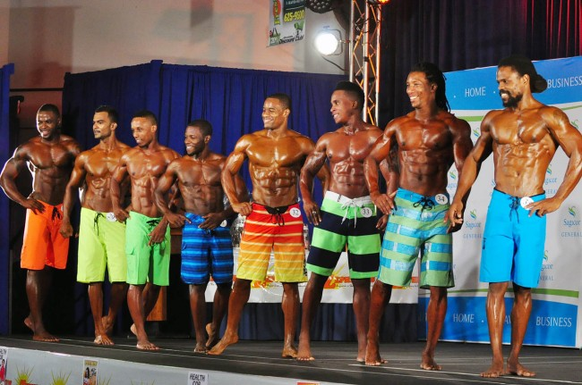 Jamil Jones (fifth left) was a clear winner in the men's physique.
