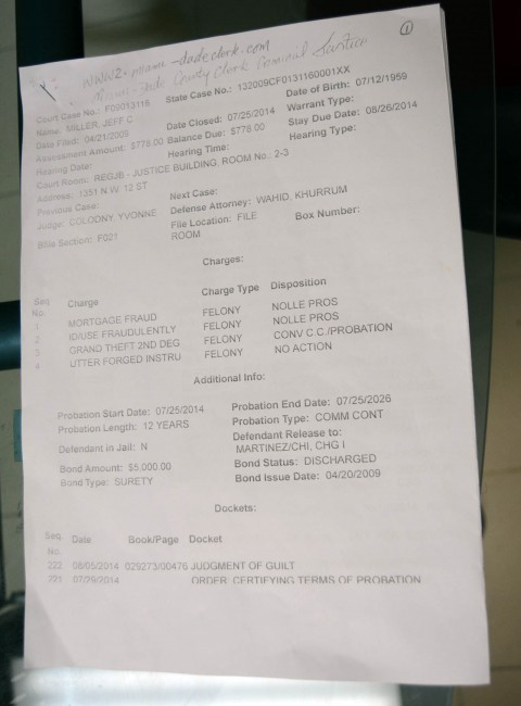 A copy of the official charge sheet against BCA CEO Jefferson Miller.