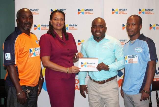 Business manager of Massy United Insurance, Sharron Alleyne- Elcock, handing over the sponsorship cheque to president of the Professional Road Tennis Association, Dale Clarke as Antonio Daniel (left) and Mark Griffith (right) look on.