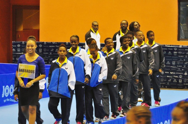 The Barbados squad during last night's parade of teams.