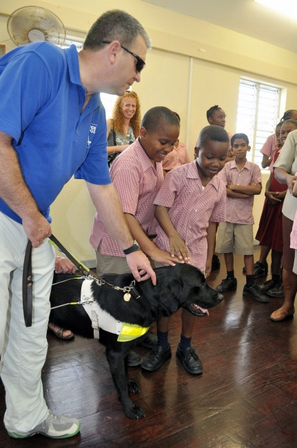 Students at the Irving Wilson School for the Blind meet Dylan.