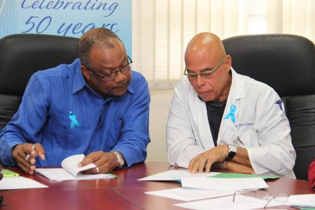 Minister of Health John Boyce (left) with head of the Urology Department,  Dr Jerry Emtage.
