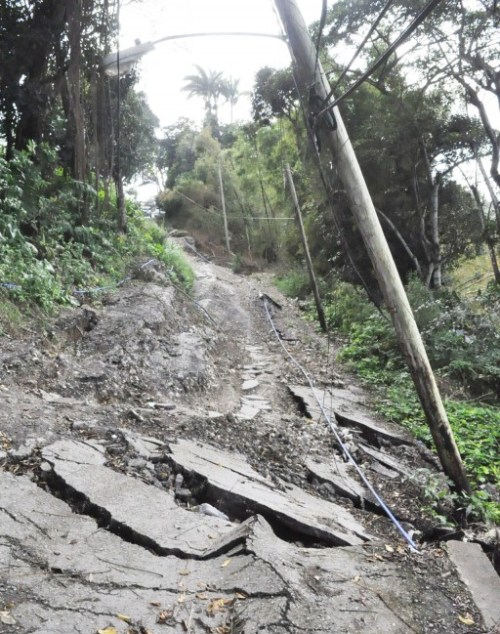A part of the crack road which residents say have disrupted their lives.