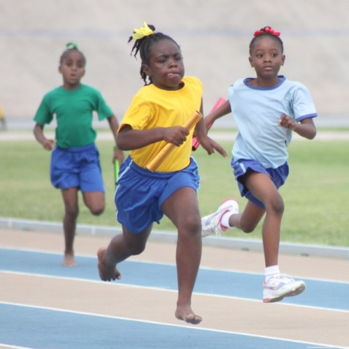 Amiah Hinds ran her heart out to see Yellow House to the finish line in the U-9 girls' 4x100m.