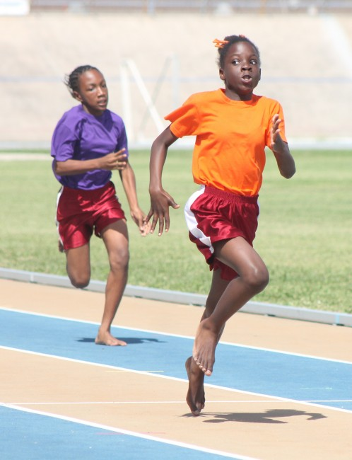 Destany Chandler of Orange House proved to everyone that she was indeed the fastest girl at St Mathews Primary when she slammed the field in the 100m.