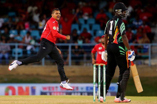 Guyana Jaguars' Raymon Reifer is bamboozled by Sunil Narine.