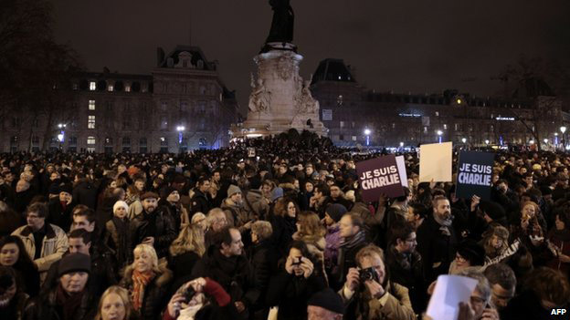 Thousands have gathered at a central square in Paris for a silent vigil.