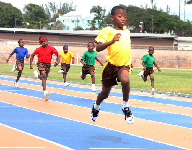 Under-11 boys champion Taquon Pilgrim of Yellow House dismissed the field in the 100m.