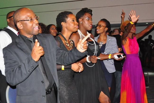 Minister of Culture Stephen Lashley enjoying himself  at the awards on Sunday.
