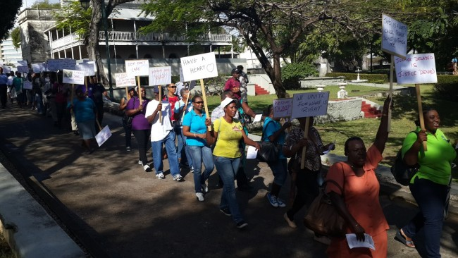 Former NCC workers take to the streets.