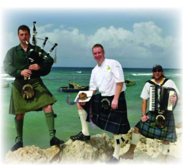 Scottish pipers in Barbados for the Barbados Celtic Festival.
