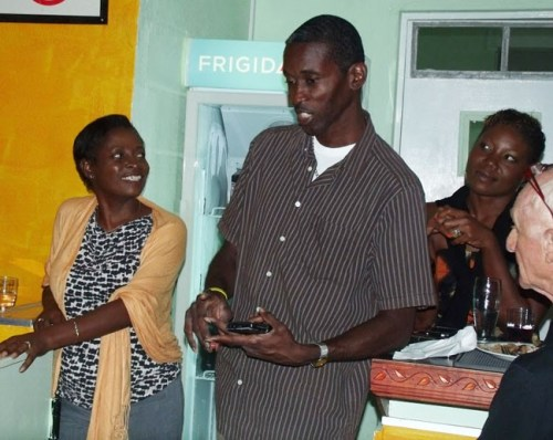 Bank On Me finalist Dario Greenidge has his say as Bank On Me mentor Lynn Beckles looks on.