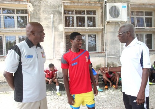 Carl Hinkson (centre) is flanked by Jabez Bovell (left) and Anthony Jordan, the BSA's U17 manager.