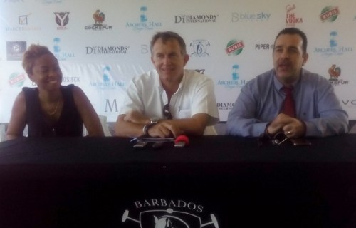 (From left) Patricia Thompson of sponsor Archer's Hall, president of the Barbados Polo Club Wayne Archer and Jason Hassid of Diamonds International.