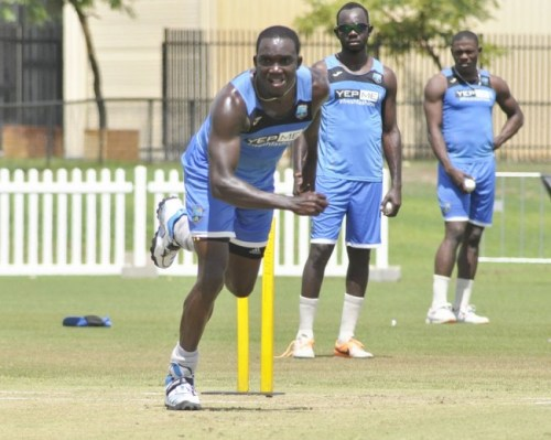 Jerome Taylor's pace at the WACA could be critical for the West Indies in a few hours time. Left-arm pacer Sheldon Cotterrell is in the background, while left-arm spinner Nikita Miller (centre) watches on.
