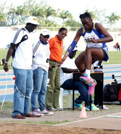 Julisa Jones- Smith of Springer Memorial won the under-13 girls long jump at 4.64m.