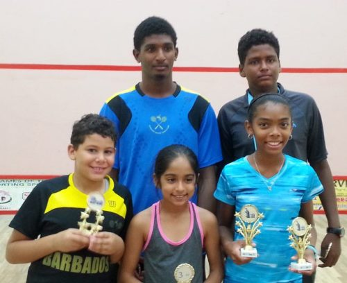 Squash juniors - front row (l-r) Alex Stewart, Sumairaa Suleman and Chelsie Samuel; back row (l-r) Zachary Proverbs-Harris and Zechariah Naitram.