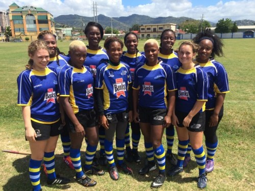 The Barbados women's national rugby side during their recent tour of Trinidad and Tobago.