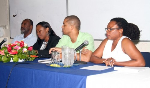 From Left, UWI lecturers Anthony Wood, Stacey Estwick, Terry Harris and Annette Greene.