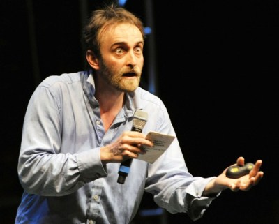 Tim Fitzhigham during his comic routine.