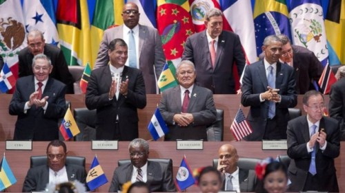Heads of state at the Summit Of The  Americas in Panama.