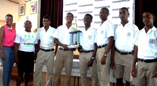 Lester Vaughan  were the most outstanding school (boys) during BSSAC. At second left is coach Alwyn Babb.