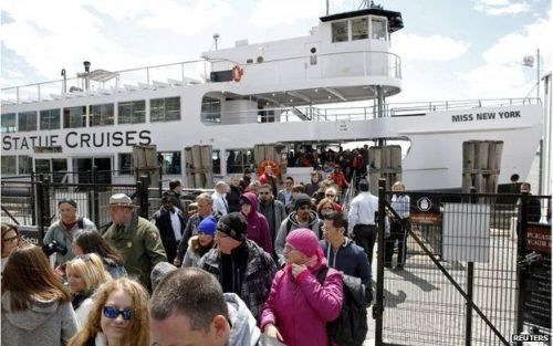 Passengers disembarking the ferry boat.
