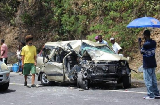 One of the vehicles involved in the accident.