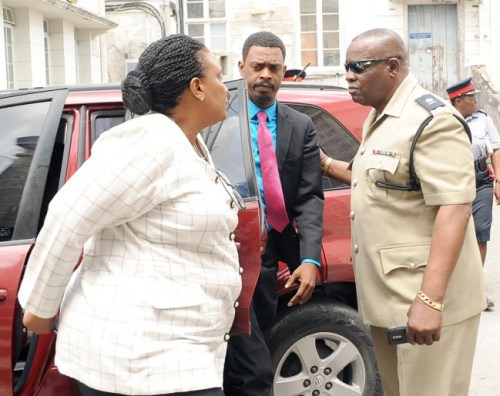 Constable Everton Gittens as he arrived this morning to Court.