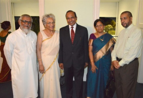 Permanent Secretary in the Ministry of External Affairs, New Delhi, Swaminathan Ramachandran (left), Indian High Commissioner  to Barbados Subashini Murugesan (centre) and Suleiman Bulbulia, secretary of the Barbados Muslim Association, at reception.