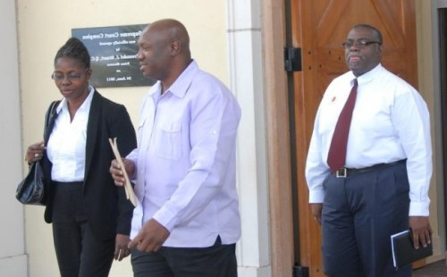 Nation Publishing Co. Ltd. CEO and publisher Vivian-Anne Gittens (left) Editor-in-Chief Roy Morris (centre) and Editor Sanka Price (right)                                                     at a previous court appearance.