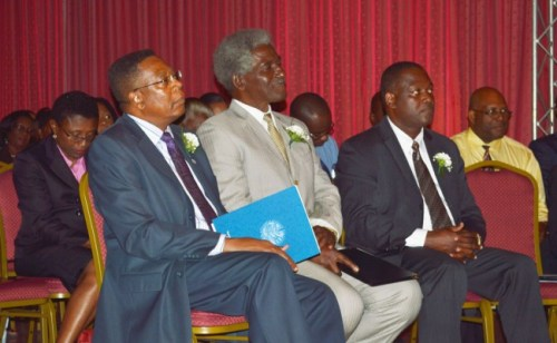 From left, Minister of Commerce Donville Inniss, US Ambassador to Barbados Larry Palmer and representative from the OAS Francis McBarnette.