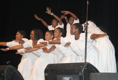 New Dimensions Dancers on a wave at Caribbean Praisefest on Saturday.