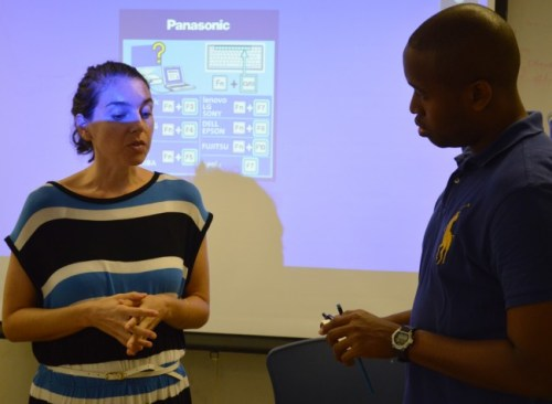 Delia Dominici, country representative for Dominica (left), addressing students during her presentation on the Erasmus+ and Erasmus Mundus programmes at UWI.