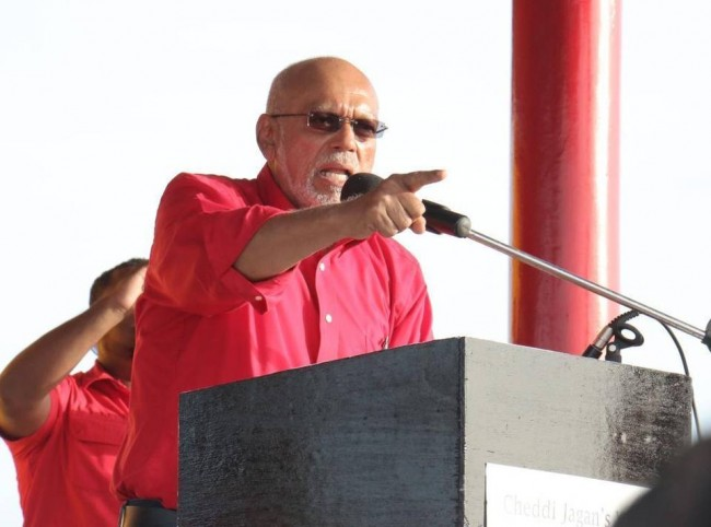 Guyana President Donald Ramotar rallying supporters on behalf of his ruling People's Progressive Party Civic ahead of Monday's elections.