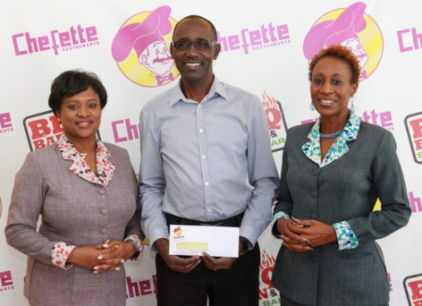 From left, Chefette advertising manager Lisa Carter, executive producer of Gospelfest Adrian Agard and Chefette marketing officer Marquest Clarke-Griffith.