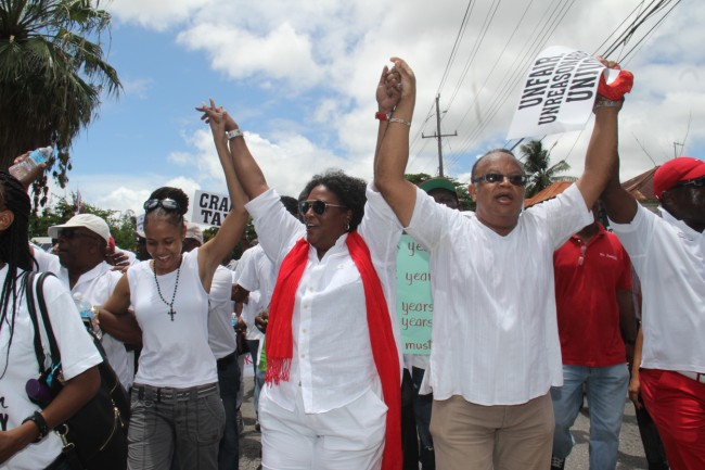 Opposition Leader Mia Mottley (centre) and other BLP officials during last year's anti-Municipal Solid Waste Tax march.