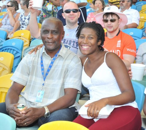 Sports journalist Keith Holder and his daughter Melanie-Anne in the 3Ws Stand at Kensington Oval on the first day of the third and final Test between West Indies and England.