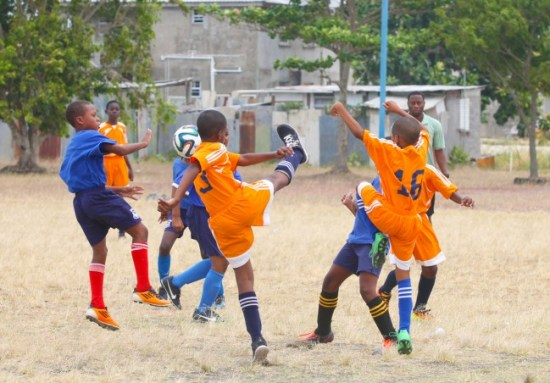 St Paul's Primary in (blue) played to a 0-0 draw against Belmont Primary.