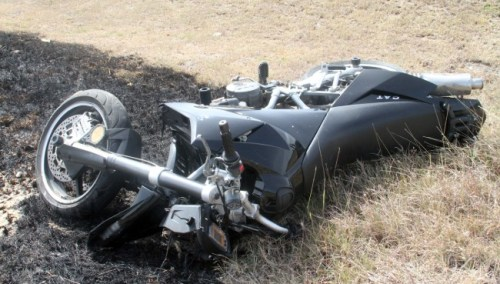 The bike which Kerwyn Husbands was riding caught afire after landing.