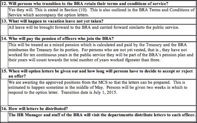 A section of the document prepared by BRA in answer to frequently asked questions about the Customs changeover.