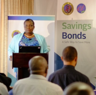 Senior operations officer in banking and instruments at the Central Bank, Linel Franklin addressing today's relaunch.