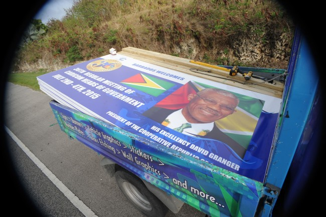 This billboard of Guyanese President David Granger was next in line to be mounted.