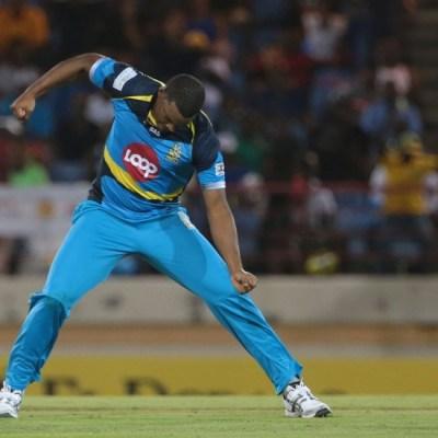 Man of the Match Shannon Gabriel celebrates another wicket.