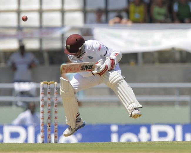 Shai Hope evades this bouncer. He top-scored with 36 in a weak Windies' batting display.