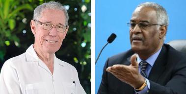 "Ralph ""Bizzy"" Williams (left), Sir David Simmons (right)."
