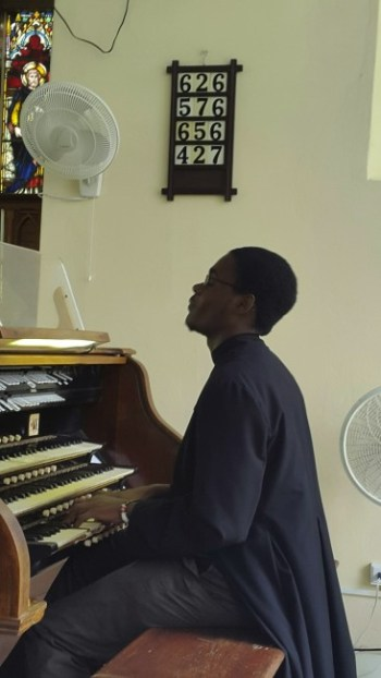 Akhanni continues to play even after church on Sundays at St Andrew's.