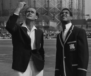 Brian Close tosses the coin with Garfield Sobers in the last Test of the 1966 series at Kennington Oval which England won but lost the series 3-1.