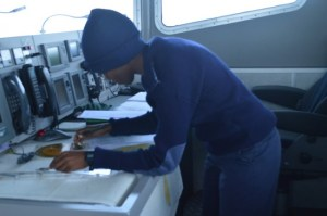Midshipman Sasha Marshall at work.